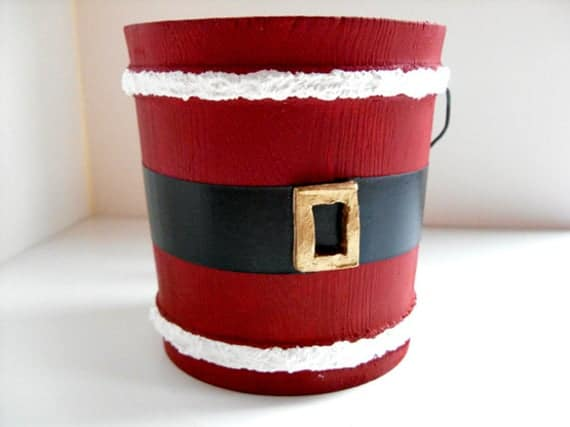 Santa Bucket, Santa pail, Santa Christmas decoration, Santa Claus decoration, candy cane holder, gold buckle, Christmas decor, St. Nick