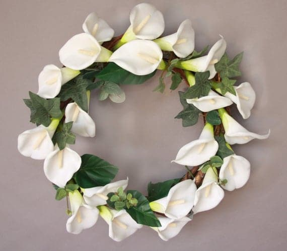 Lily mourning or Spring/Easter wreath 12 inch