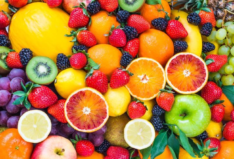 All kinds of freshly harvested fruits.