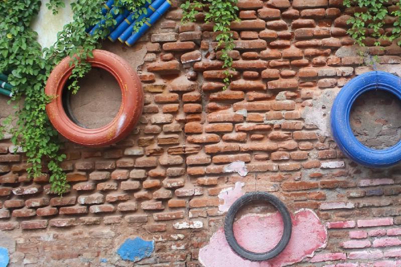 Grow a Tire Garden on the Wall