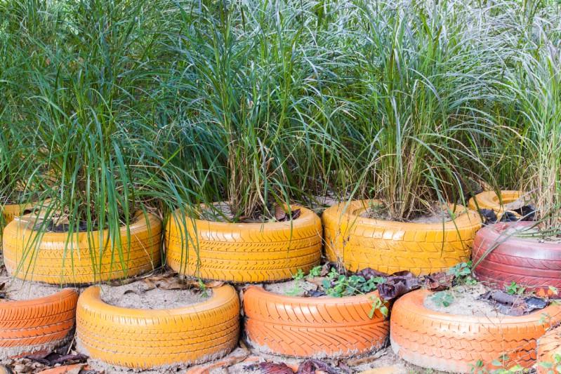 Make a Tire Garden Retaining Wall