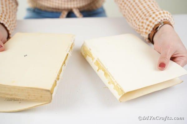 Preparing book for crafting