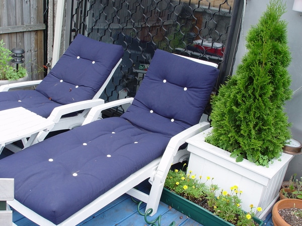 Square planter by chaise lounge