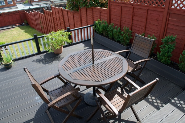 Composite porch with planter