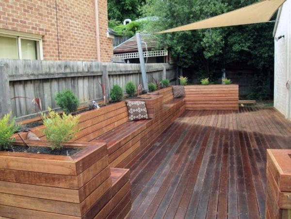 Wooden deck bench planter