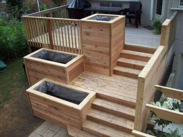 Deck stair planters
