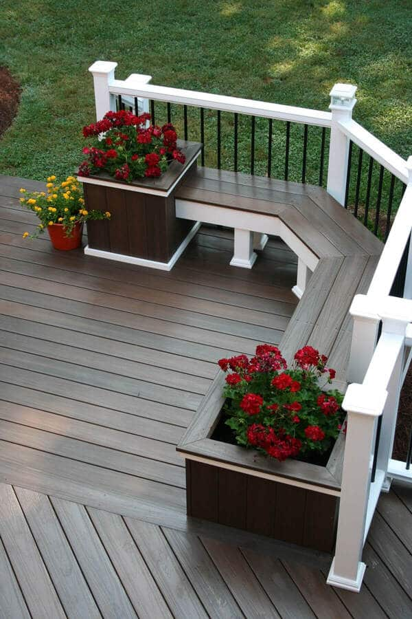 Square deck seating planter