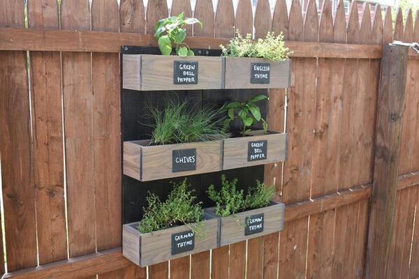 Vertical herb garden boxes