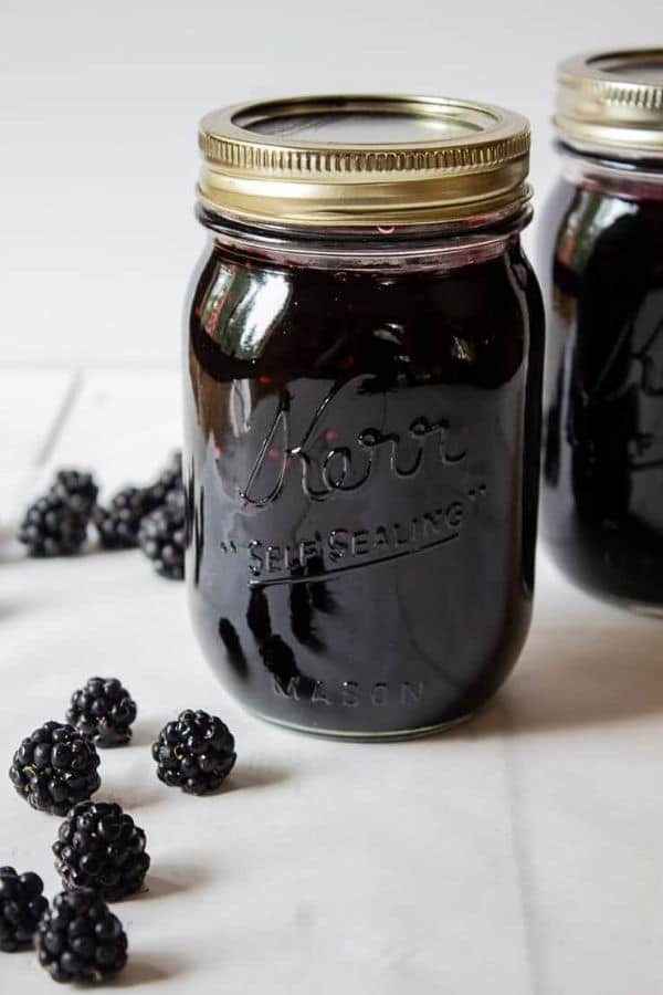 Blackberry jam in mason jar