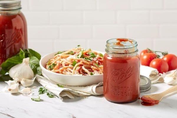 Mason jar of tomato sauce