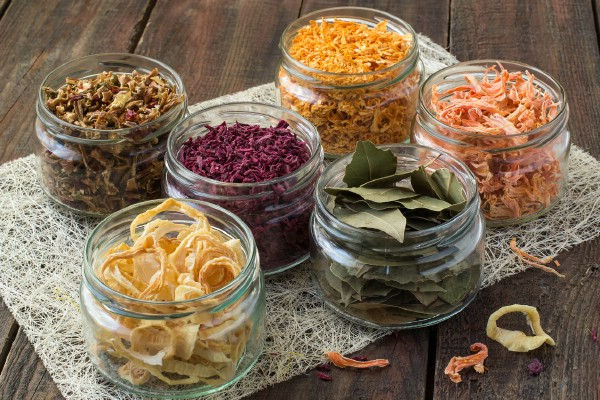 Jars of dried foods