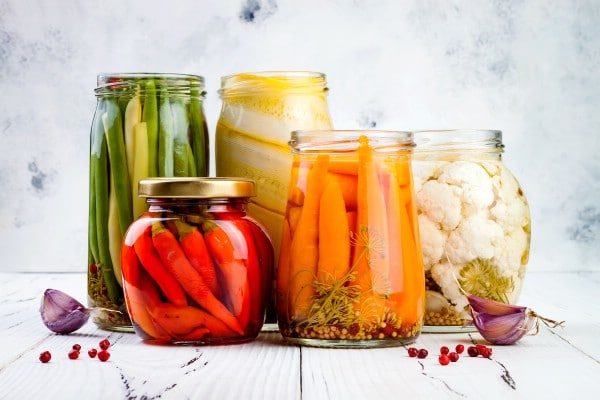 Mason jars of vegetables