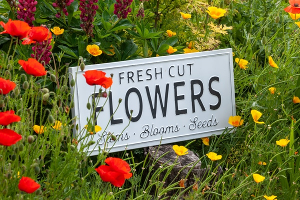 Flowers license plate sign