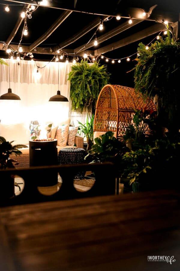 Twinkle light on patio