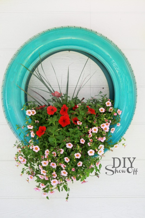 Teal tire planter