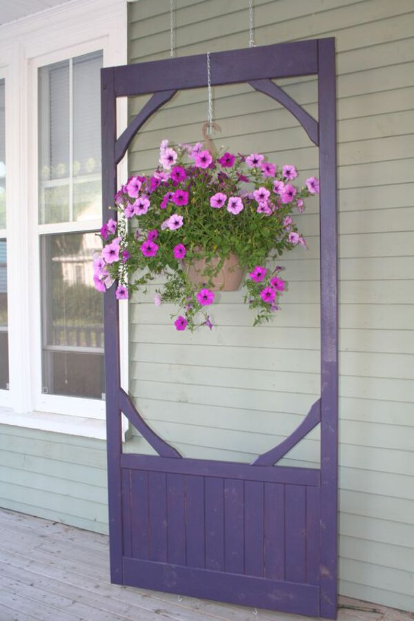 Purple hanging plant stand