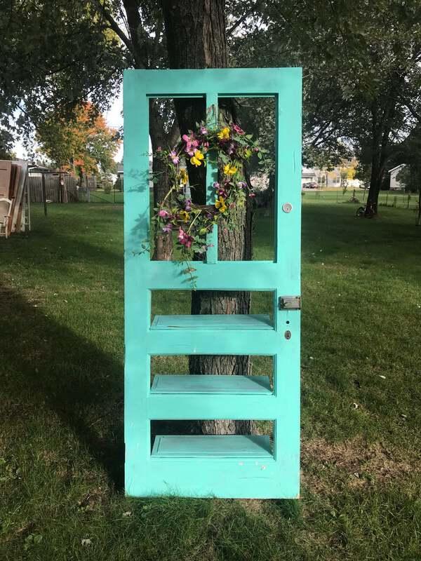 Teal old door shelf