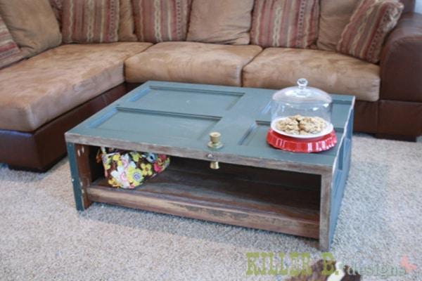 Blue wood door coffee table