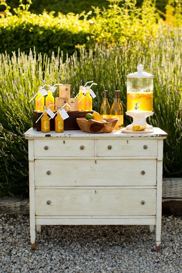 Cream dresser outdoor bar idea