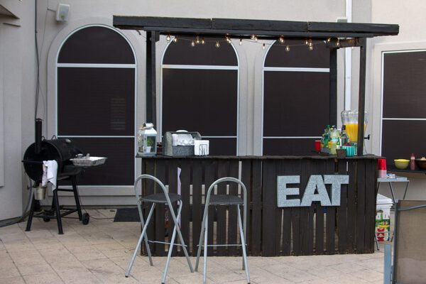 Black bar with awning