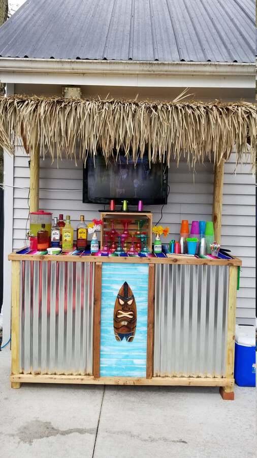 Tiki bar with corrugated metal