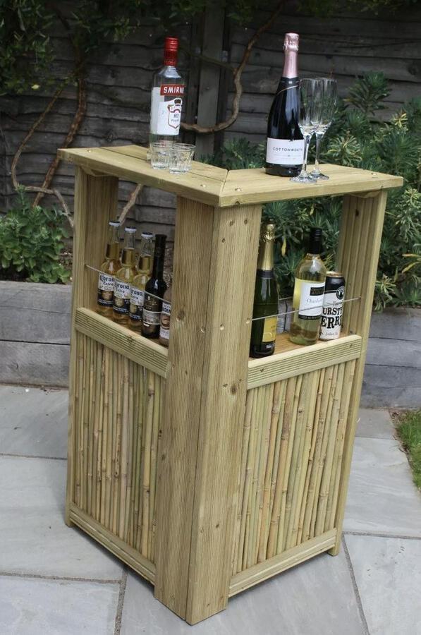 Blonde wood corner bar