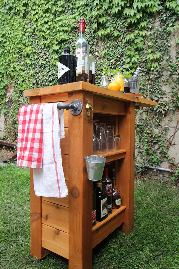 Wooden bar with towel rack