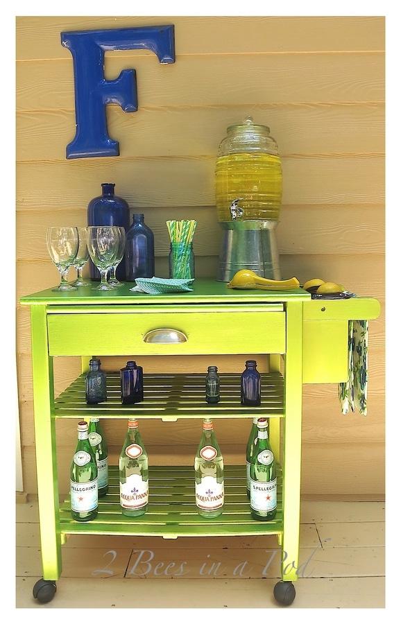 Green microwave cart bar