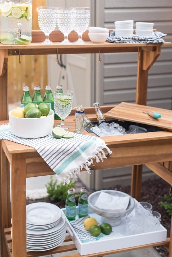 Wooden cooler and bar