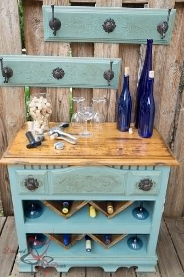 Upcycled chest wine bar