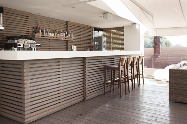 Wood slat bar