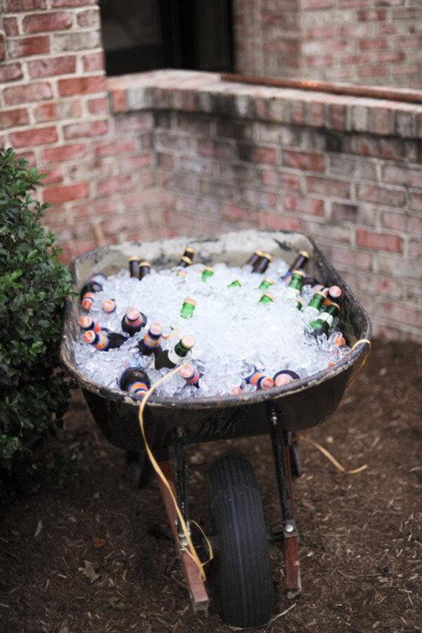 Wheel barrow with drinks and ice