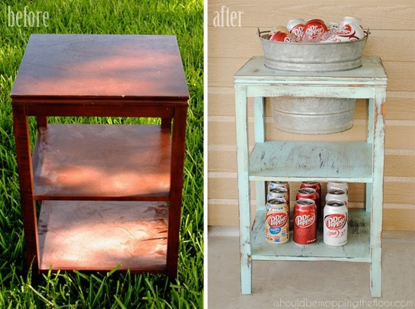 Upcycled end table drink bucket