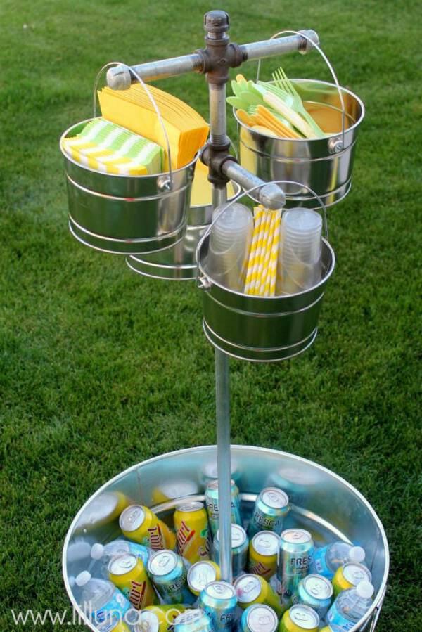 Galvanized bucket drink stand