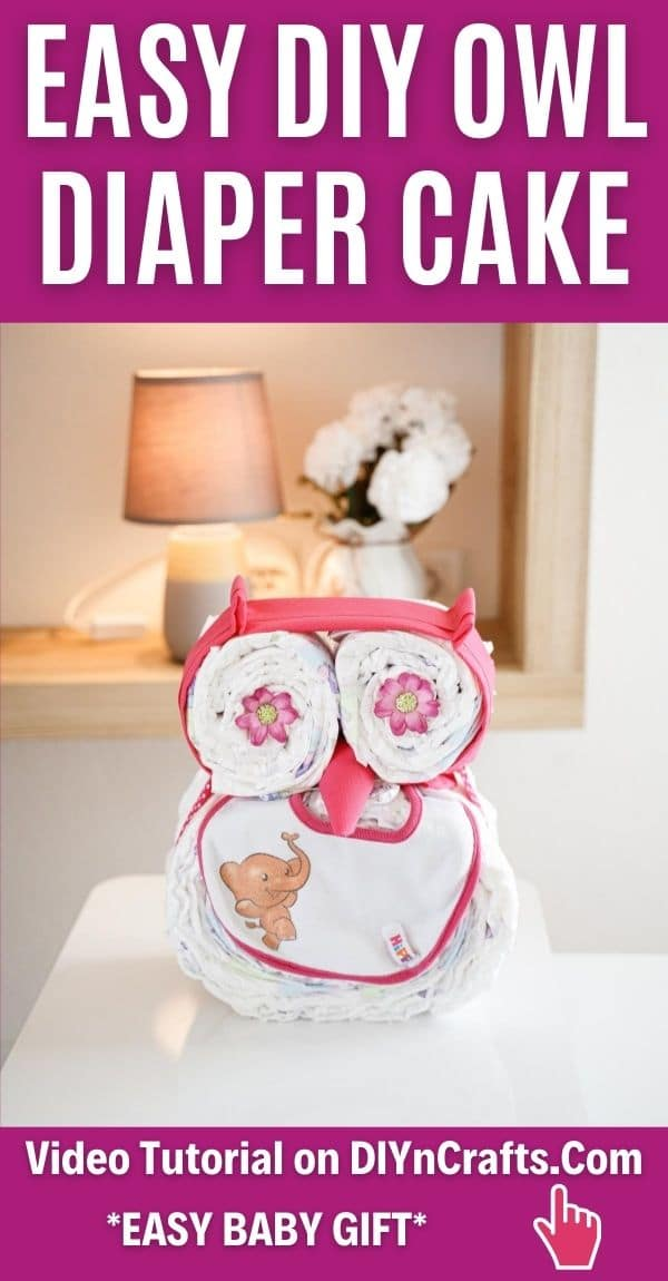 Owl diaper cake on table