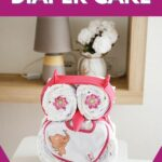 Owl diaper cake on table