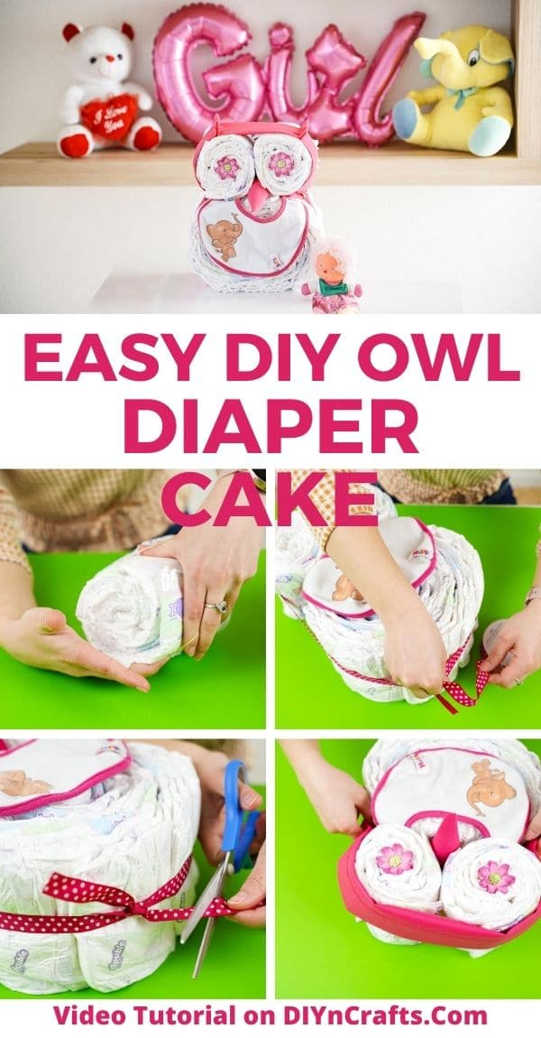 Owl diaper cake collage