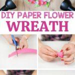 Paper chrysanthemum wreath collage