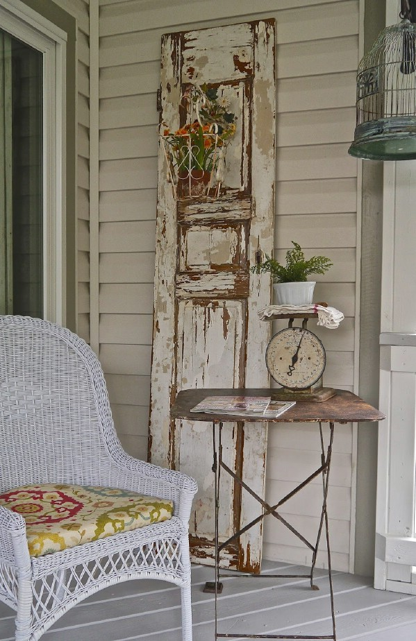 Old shutter and metal tv tray
