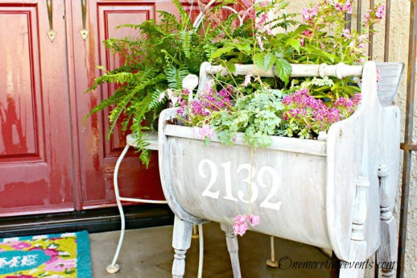 White planter with house numbers