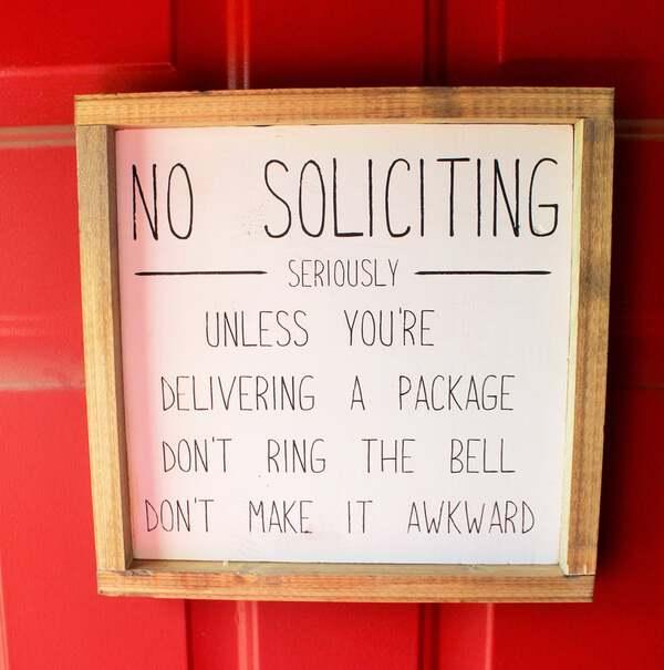 No soliciting rae dunn sign