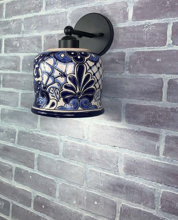 Blue and white wall sconce