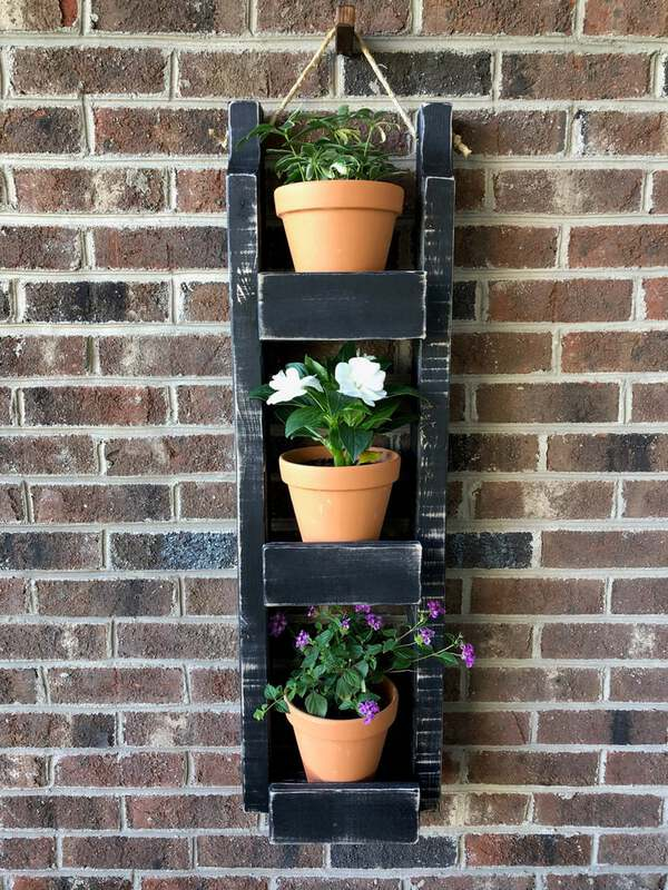 Black wood tiered planter