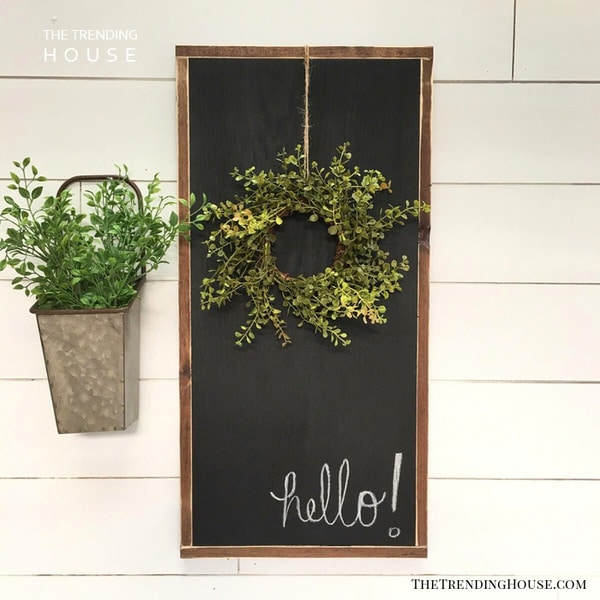 Chalk board wreath hanger sign
