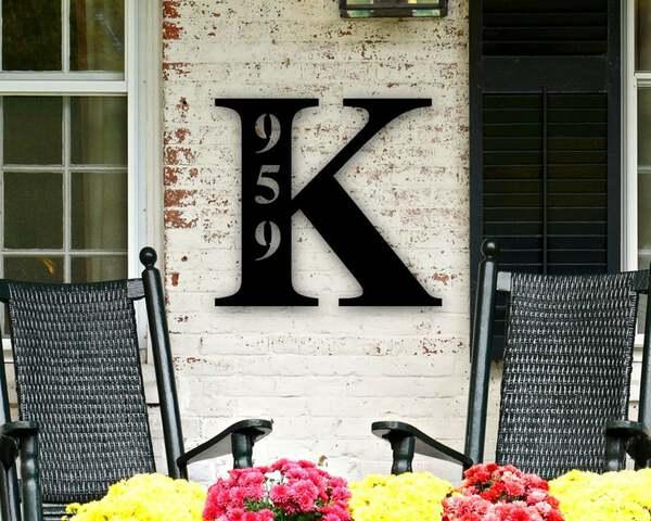 Metal mongram house number