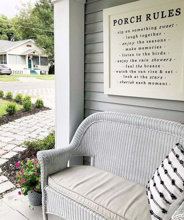 Porch rules above seat