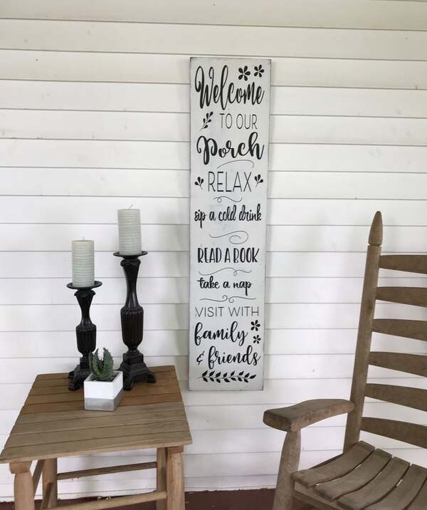 Long white message sign