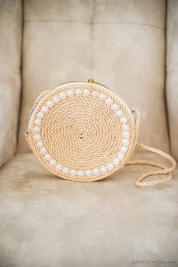 Rope purse on tan chair