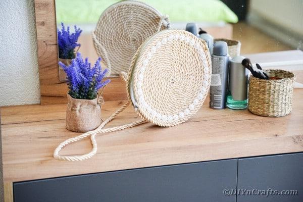 Rope purse on vanity