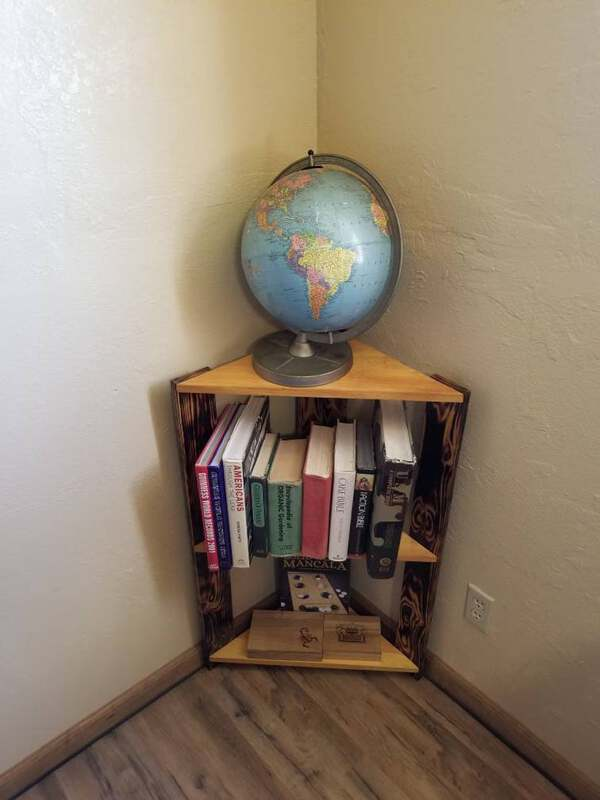 Raw wood corner shelf